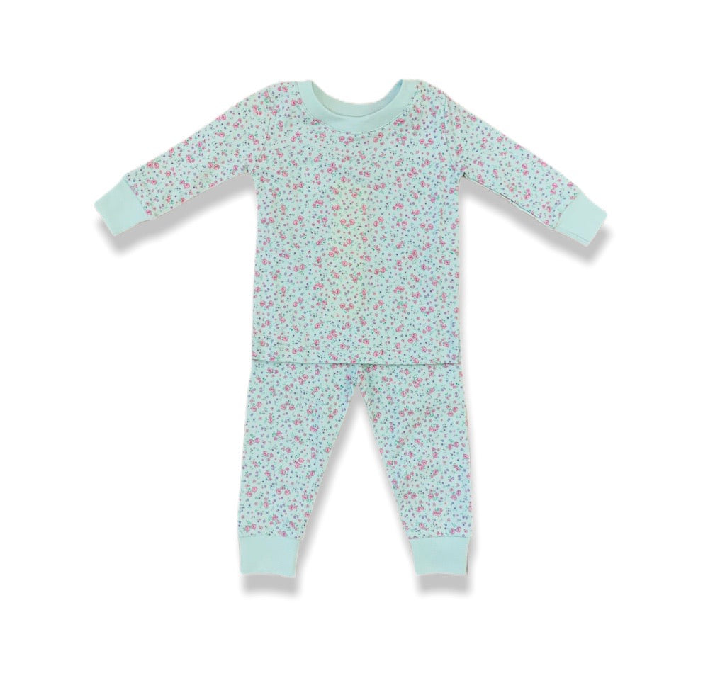 Girls Mint Floral Pajama Set