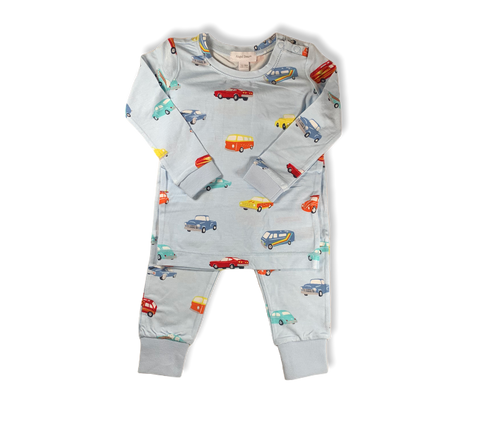 Blue Classic Cars 2-Piece Set
