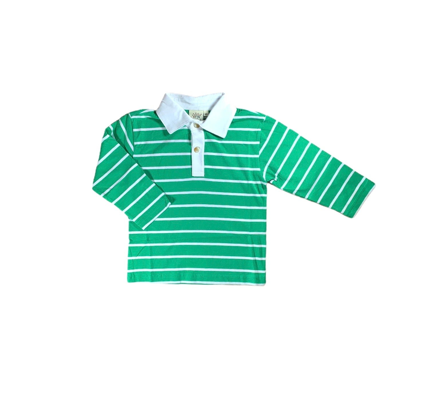 Green Stripe Long Sleeve Polo