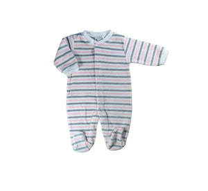 Pink and Grey Stripe Velour Footie