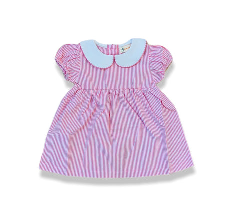 Pink and White Striped Collared Seersucker Dress