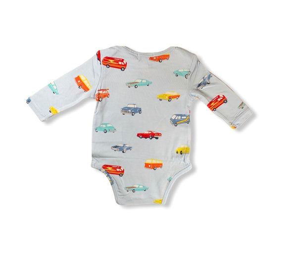 Blue Classic Cars Long Sleeve Onesie