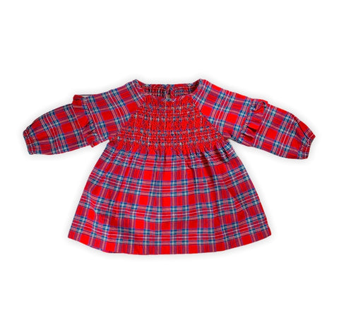 Red Tartan Smocked Dress