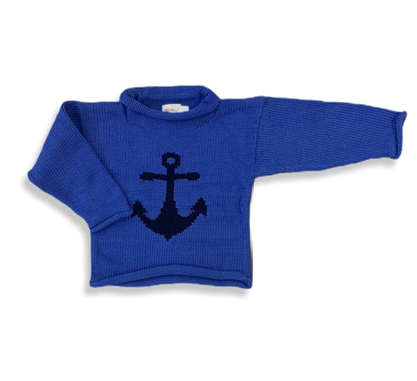 Dusty Blue Anchor Roll Neck Sweater