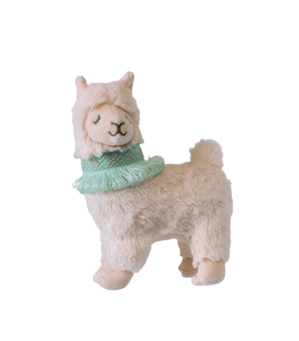 pink plush llama with blue necklace with fringe