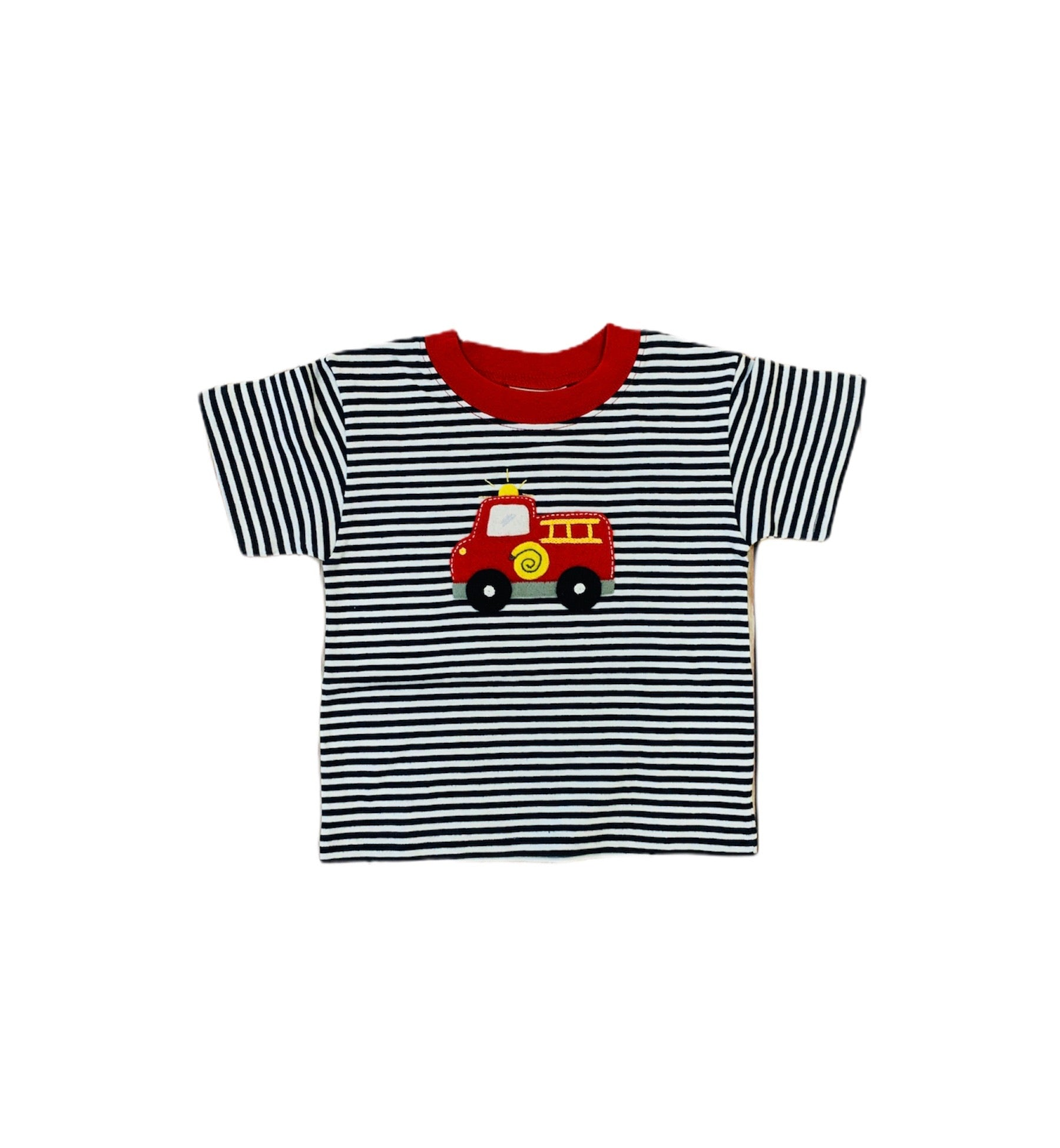 Navy and White Striped Firetruck T-Shirt