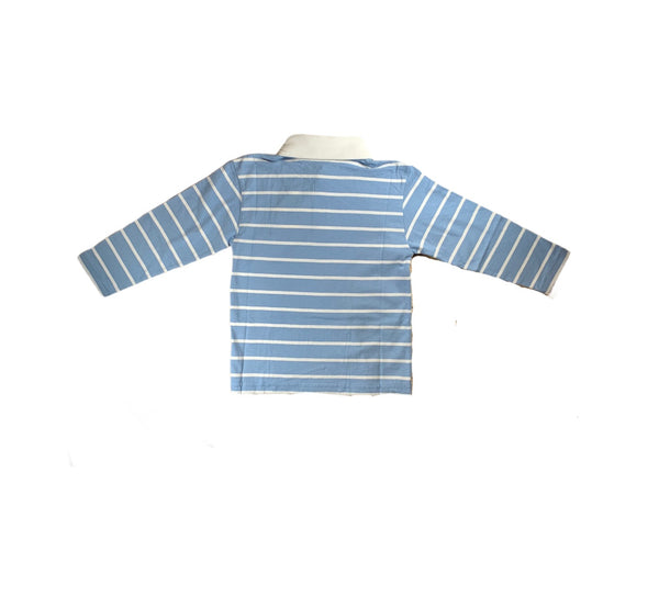 Light Blue Stripe Long Sleeve Polo