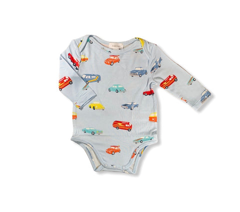 Blue Classic Cars Long Sleeve Onesie Baby Front