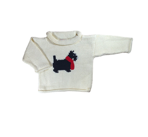 Ivory Christmas Scottie Roll Neck Sweater