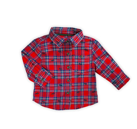 Red Tartan Moose Button Up