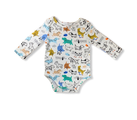 White Dogs Long Sleeve Onesie