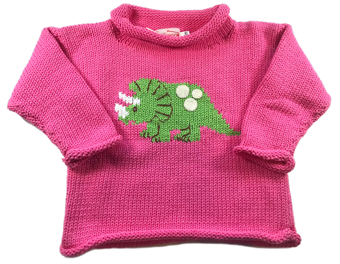 Pink Dinosaur Roll Neck Sweater