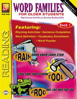 Word Families for Older Students Book # 1 Gr. 3+, Reading Level Grades 2-3