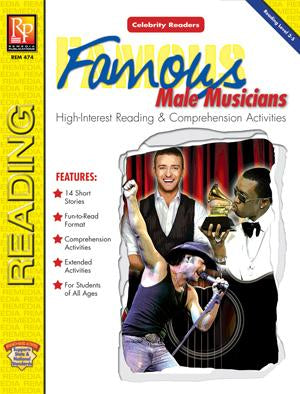 Celebrity Readers: Famous Male Musicians Gr. 3-12, R.L. 3.8-5.4