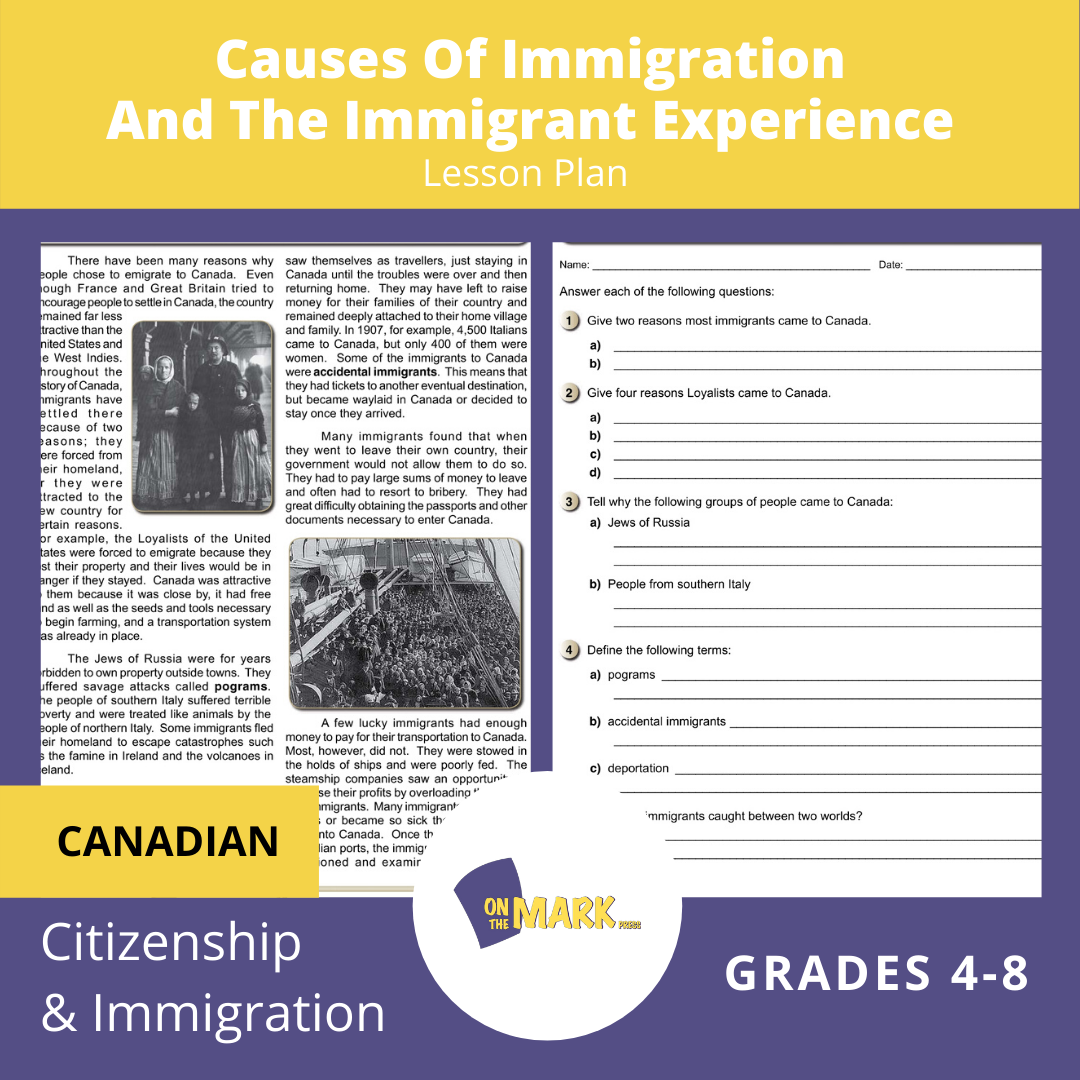 Causes of Immigration & The Immigrant Experience Gr. 4-8