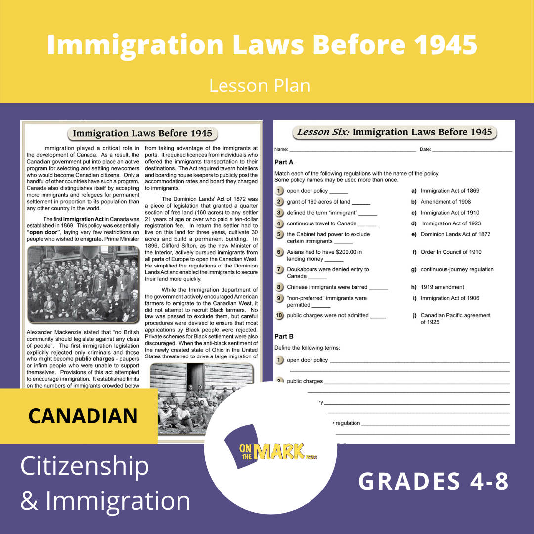 Immigration Laws Before 1945 In Canada Gr. 4-8