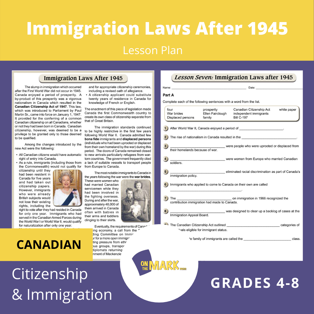 Immigration Laws After 1945 In Canada Gr. 4-8