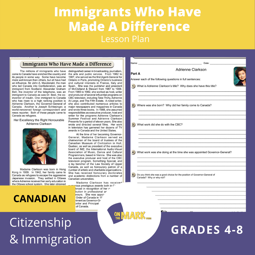 Immigrants Who Have Made A Difference A Unit Test & Extras! Lesson Plan Gr. 4-8