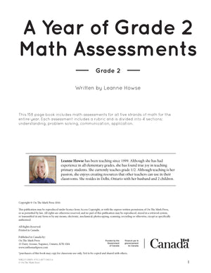 A Year of Grade 2 Math Assessments