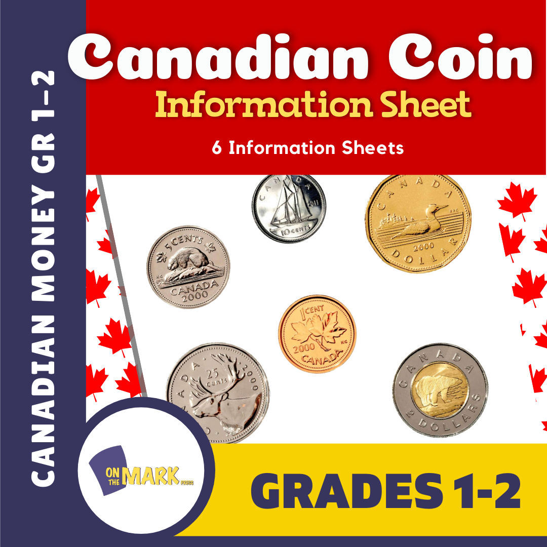 Canadian Money Coin Information Sheets Grades 1-3