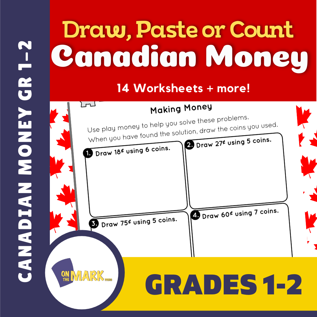 Draw or Paste and Count Canadian Money Grades 1-2