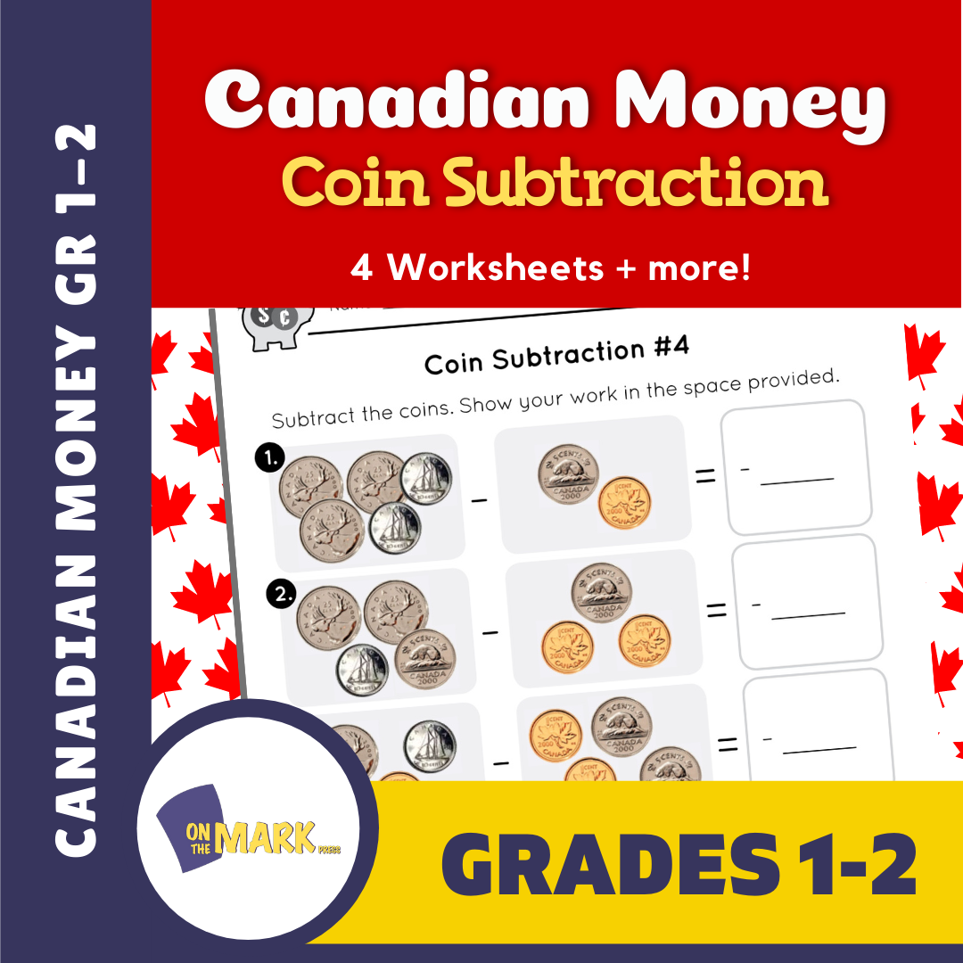 Canadian Money - Coin Subtraction Grades 1-2