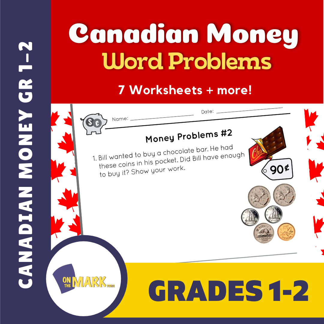 Canadian Money - Word Problems Grades 1-2
