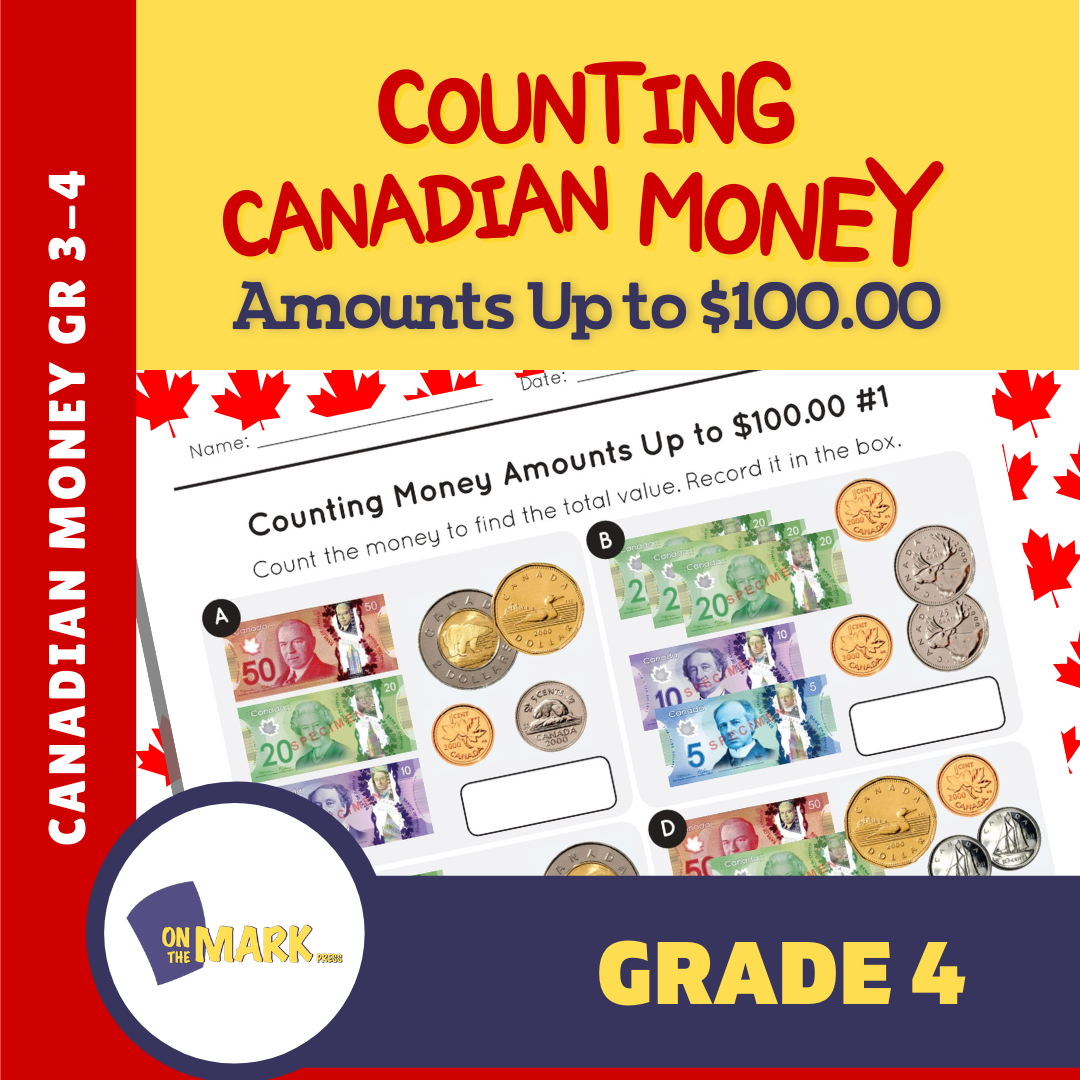 Counting Canadian Money Amounts Up to $100 Grade 4