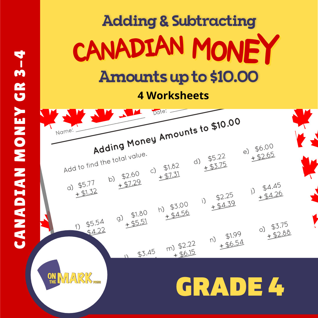 Adding & Subtracting Canadian Money Amounts up to $10 Grade 3 - 4 Worksheets