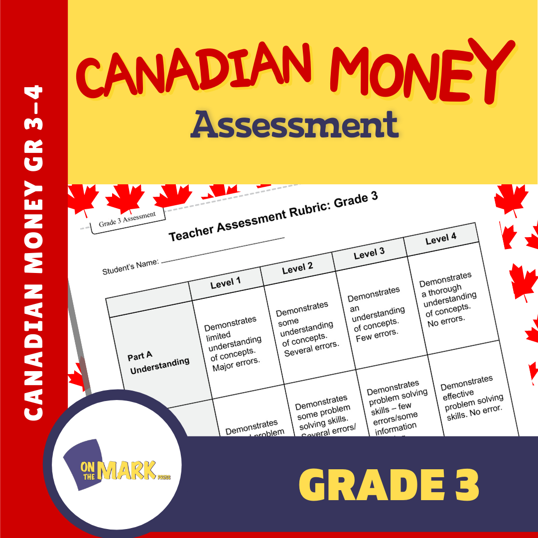 Canadian Money Grade 3 Assessment Activities