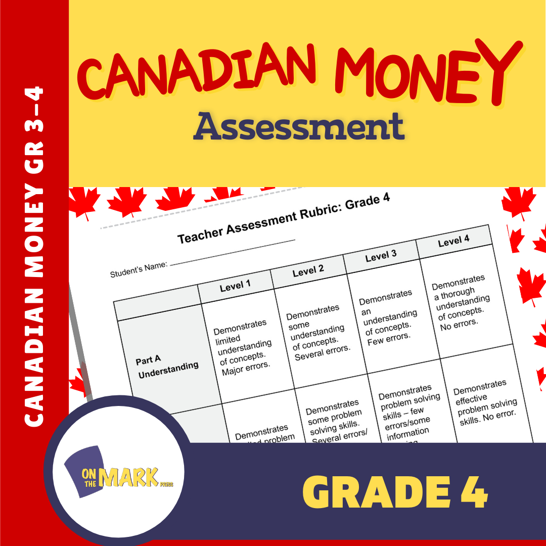 Canadian Money Grade 4 Assessment Activities