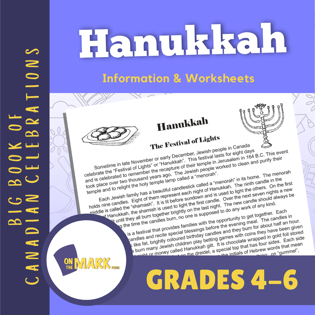 Hanukkah Grades 4-6 Teacher Information & Worksheets