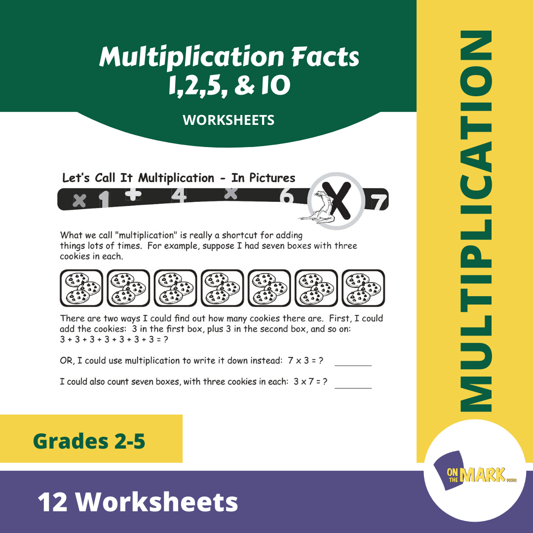 Multiplication Facts 1,2,5, & 10 Worksheets Grades 3-5