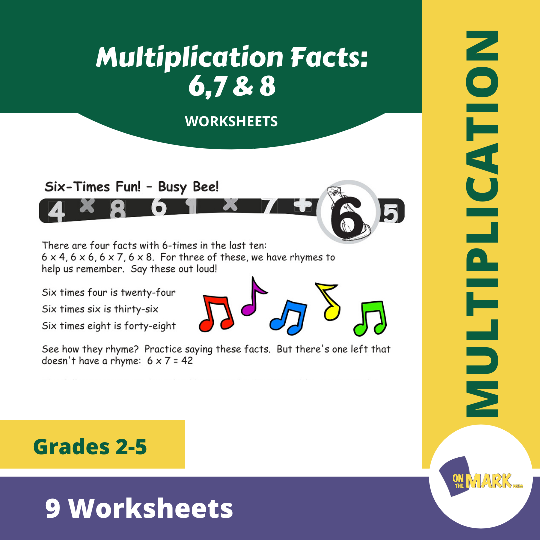 Multiplication Facts: 6,7 & 8  Worksheets Grades 3-5