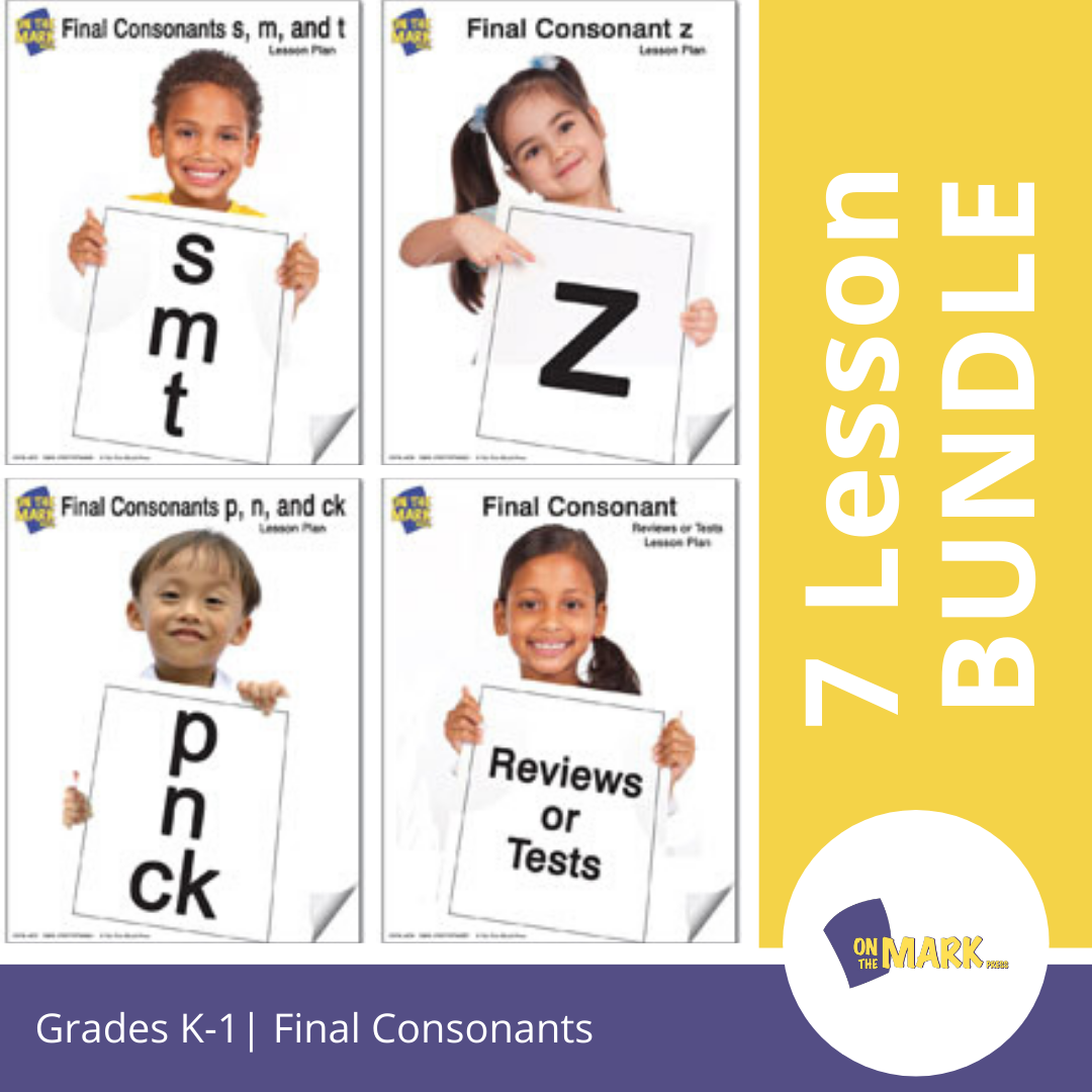 Final Consonants 7 Lessons & 1 Test Bundle! Grades Kindergarten To 1
