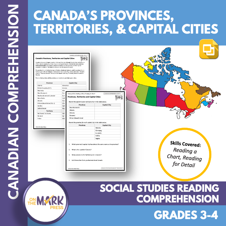 Canada's Provinces, Territories & Capital Cities Reading Gr. 3-4 Google Slides