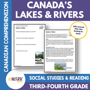 Canada's Lakes & Rivers: A Social Studies/Reading Comp.  Google Slides & Printables Gr. 3-4