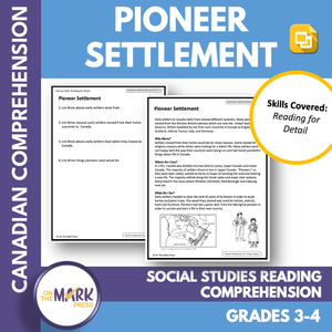 Pioneer Settlement:  A CDN Social Studies Reading Lesson Gr. 3-4 Google Slides