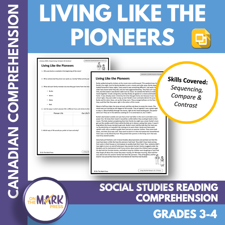 Living Like Pioneers: A CDN Social Studies Reading Lesson Gr. 3-4 Google Slides