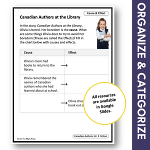 Canadian Authors at the Library: A Social Studies Reading Google Slide Lesson Gr. 3-4