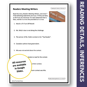 Readers Meeting Writers: No TV for a Month! Reading Google Slides Gr. 3-4
