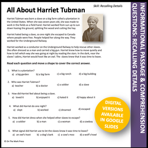 Black History Month Teacher Directed Google Slides & Printables Grades 1-3