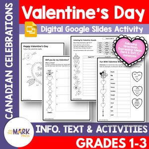 Valentine's Day Grades 1-3 Teacher Directed Google Slides & Printables