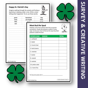 St. Patrick's Day Grades 1-3 Teacher Directed Google Slides & Printables