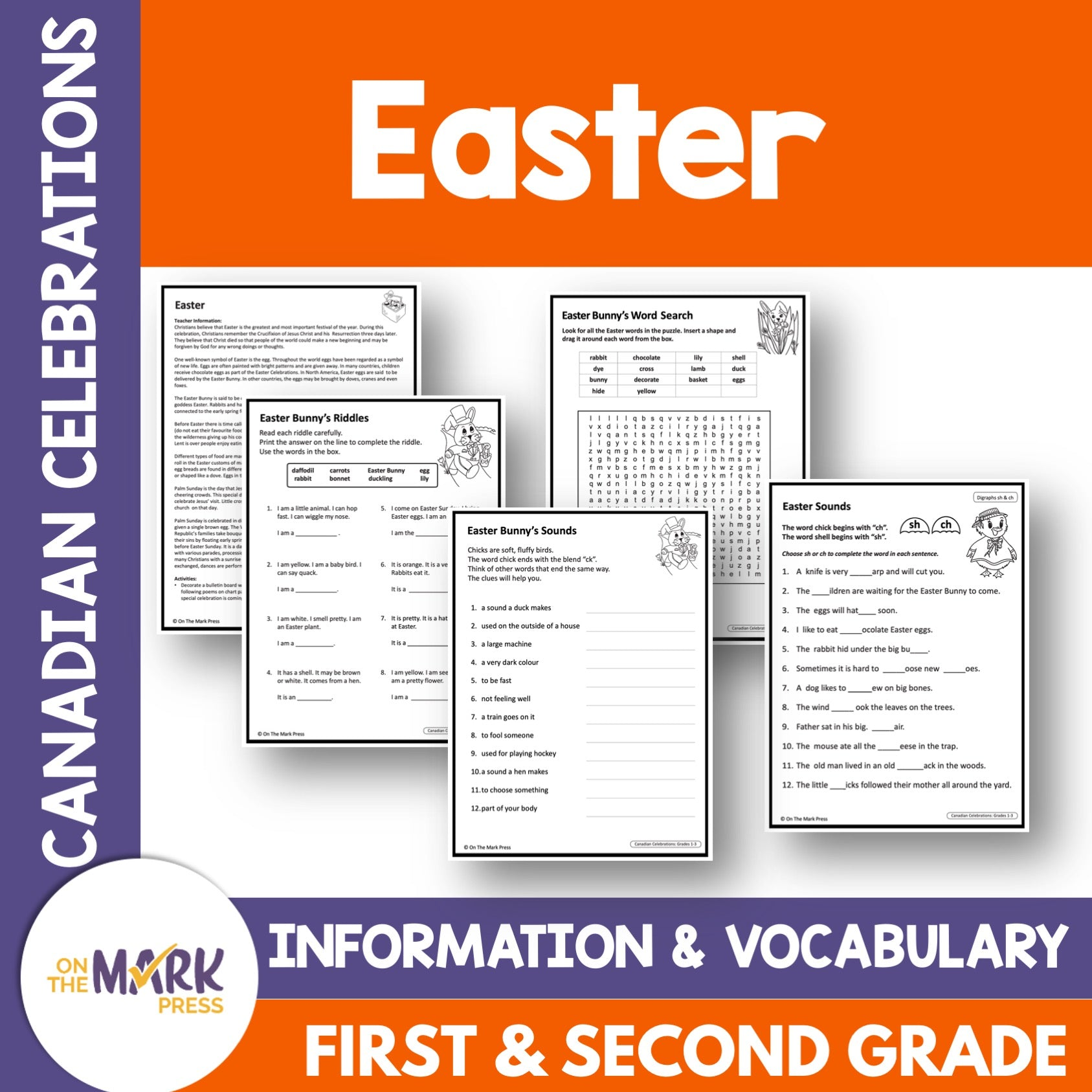 Easter, Grades 1-3 Teacher Directed Lesson & Google Slides & Printables