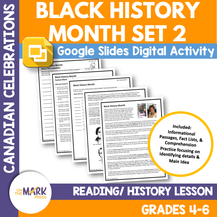 Black History Month Reading/History Lesson Google Slides Grade 4-6