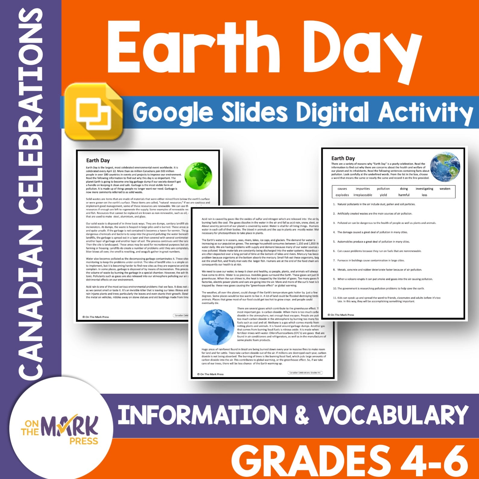 Earth Day Gr. 4-6 Google Slides & Printables Lesson