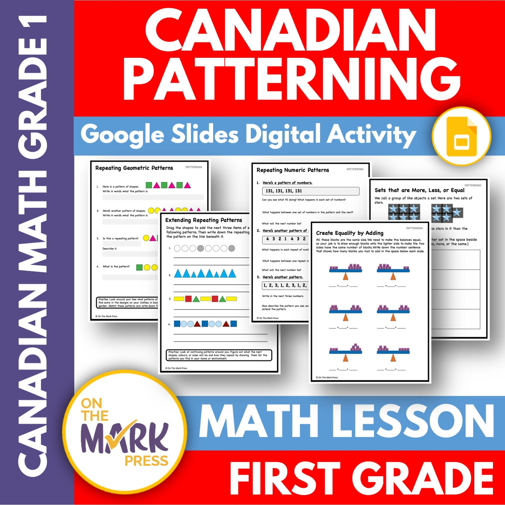 Canadian Patterning Grade 1 Google Slides & Printables