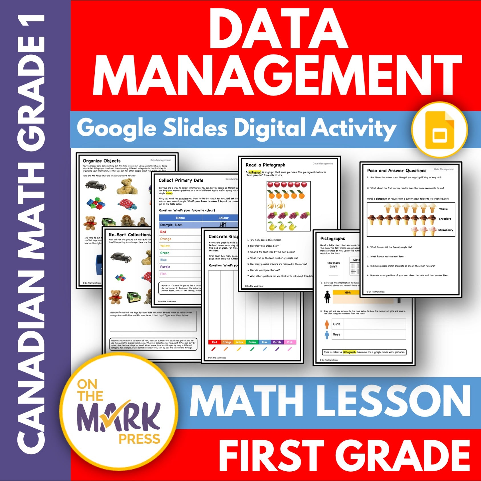 Canadian Data Management Grade 1 Google Slides & Printables