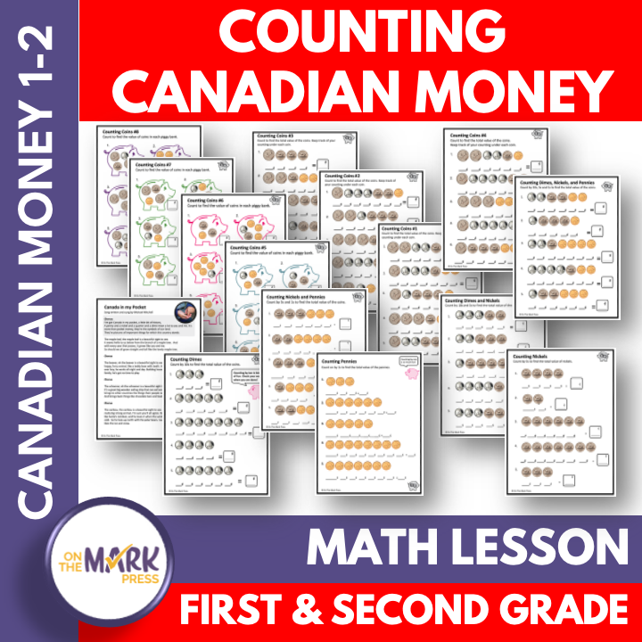 Counting Canadian Money - Coins Grades 1-2 Google Slides & Printables